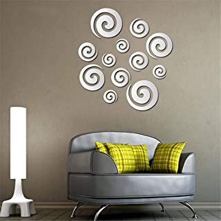 Yuybei 3D Wallpaper Wall Sticker Home Wall Stickers Acrylic Mirror Post Vortex Wall Stickers Removable Self-Adhesive DIY Background Stickers (Color : Silver, Size : 4045cm)