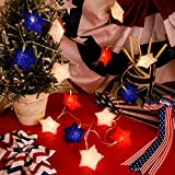Honoson 9.8 Feet 20 LEDs Independence Day LED String Lights Red White Blue 4th of July Star LED String Lights Battery Operated Patriotic String Lights for Independence Day Party Indoor Outdoor Decor