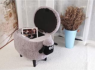Children Animals Sheep Storage Stool, Velvet Upholstered Ottoman Foot Stool 4 Legged Solid Wood Sofa Coffee Shoe Stool, for Kids and Adults-grayA