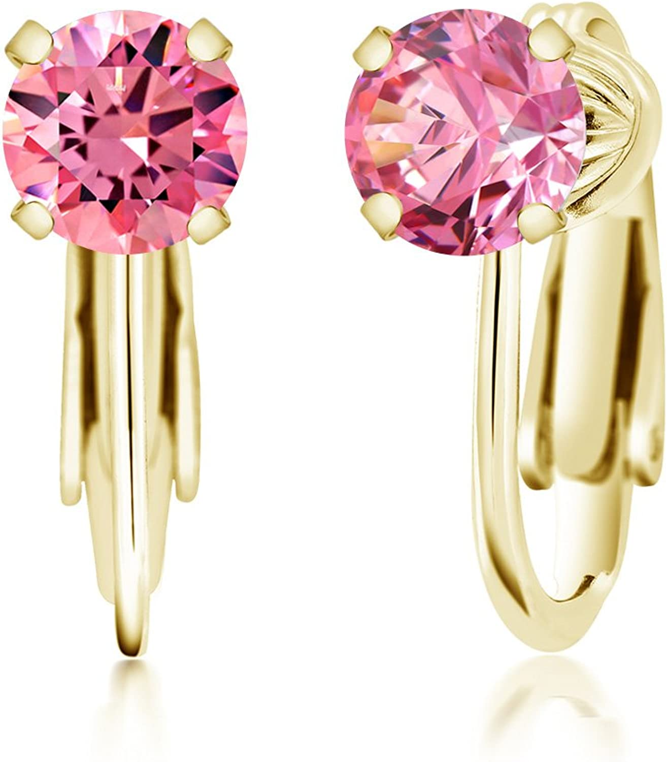 Carlo white Fancy Pink 925 Yellow gold Plated Silver Earrings Made With Swarovski Zirconia
