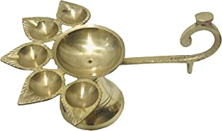 Panch Diya Brass Jyot Diya Brass Aarti Deepam Golden Deepak Pooja Dia Brass Diwali Diya/Deepawali Deepak Oil Lamps/Christm...