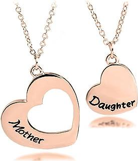 """Coppia di collane con ciondoli a forma di cuore con scritta incisa """"Mother"""" e """"Daughter"""", regalo per mamma e figlia"""