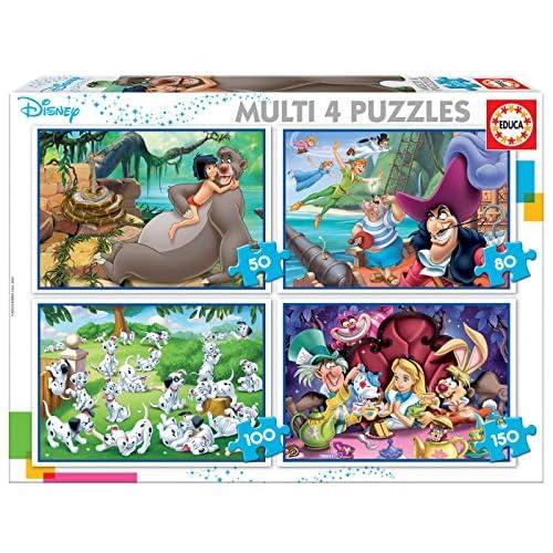 Educa- Disney Aladdin, El Libro de la Selva, Alicia, Peter Pan Puzzle, Colore Vario, 18105