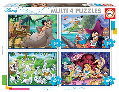 Educa - Multi 4 Puzzles Junior, puzzle infantil Clásicos Disney: Aladdin, Jungle Book, Alicia, Peter Pan de 50,80,100 y 150 piezas, a partir de 5 años (18105)