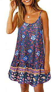 Womens Boho Beach Dress - Floral Spaghetti Strap Sleeveless V Neck A line Swing Casual Sundress Beachwear
