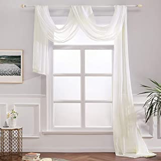 MIULEE Luxury Window Scarf Sheer Voile Elegant Topper Long Window Valance Solid Window Treatment Swags Drapes for Window Ceremony Wedding Canopy Bed 54