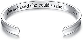 Studiocc 'She Believed She Could So She Did' Inspirational Cuff Bracelets, Jewelry for Women Mom Girl