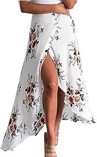 taiduosheng asimétrico de la mujer floral tobillo Longitud larga lado abierto Playa faldas