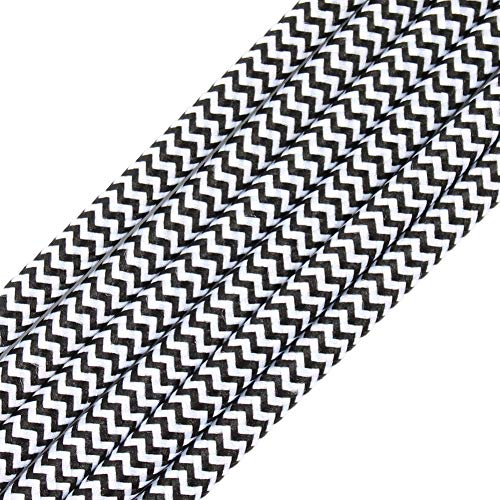 32.8ft Fabric Cloth Covered Round Wire,PRUNLLA Vintage 18/2 Industrial Electrical Lamp Cord, 18-Gauge Antique Style for Retro Lamp, DIY Projects (Black&White ZigZag)