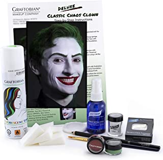 Graftobian Classic Chaos Clown Makeup Kit - Complete 11 Piece Set for Joker Jester or Clown Halloween Costume - Full Color Instructions (Deluxe)