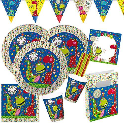 Rachel Ellen/Hobbyfun 61-teiliges Party-Set Frecher Dino - Teller Becher Servietten Einladungen Partytüten Wimpelkette Trinkhalme für 8 Kinder
