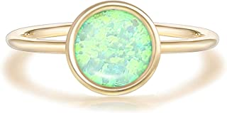 14K Gold Dipped Cubic Zirconia and Created Opal Ring