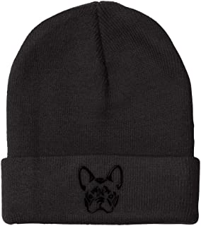 Custom Beanie for Men & Women French Bulldog Silhouette Embroidery Skull Cap Hat