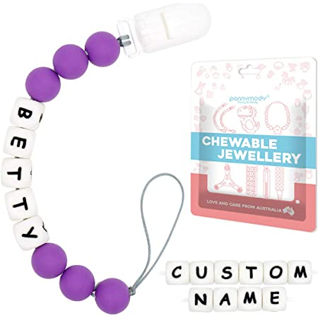Personalized Dummy Clip Silicon Bead Pacifier Holder ~ Baby Girl ~ BPA free