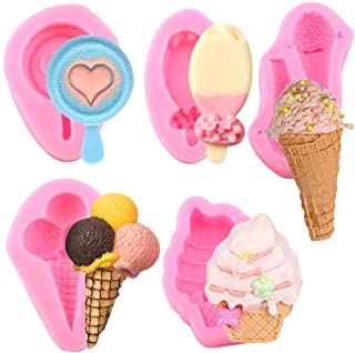 5pcs Mini Summer Ice Cream Cone Popsicle Silicone Mold DIY Party Baby Birthday Cupcake Fondant Decor Tools Candy Clay Choc...