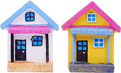Wonderland Set of 2 miniature House for bonsai decoration, planter decor, terrariums, doll house, made of polyresin, washable for home, garden, dŽcor, decoration, gift, gifting, mini, miniature, miniatures, tray garden, doll house, kids room dŽcor