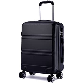 Kono 20 inch Cabin Suitcase Lightweight ABS Carry-on Hand Luggage 4 Spinner Wheels Trolley Case 55x40x22 cm(Black)