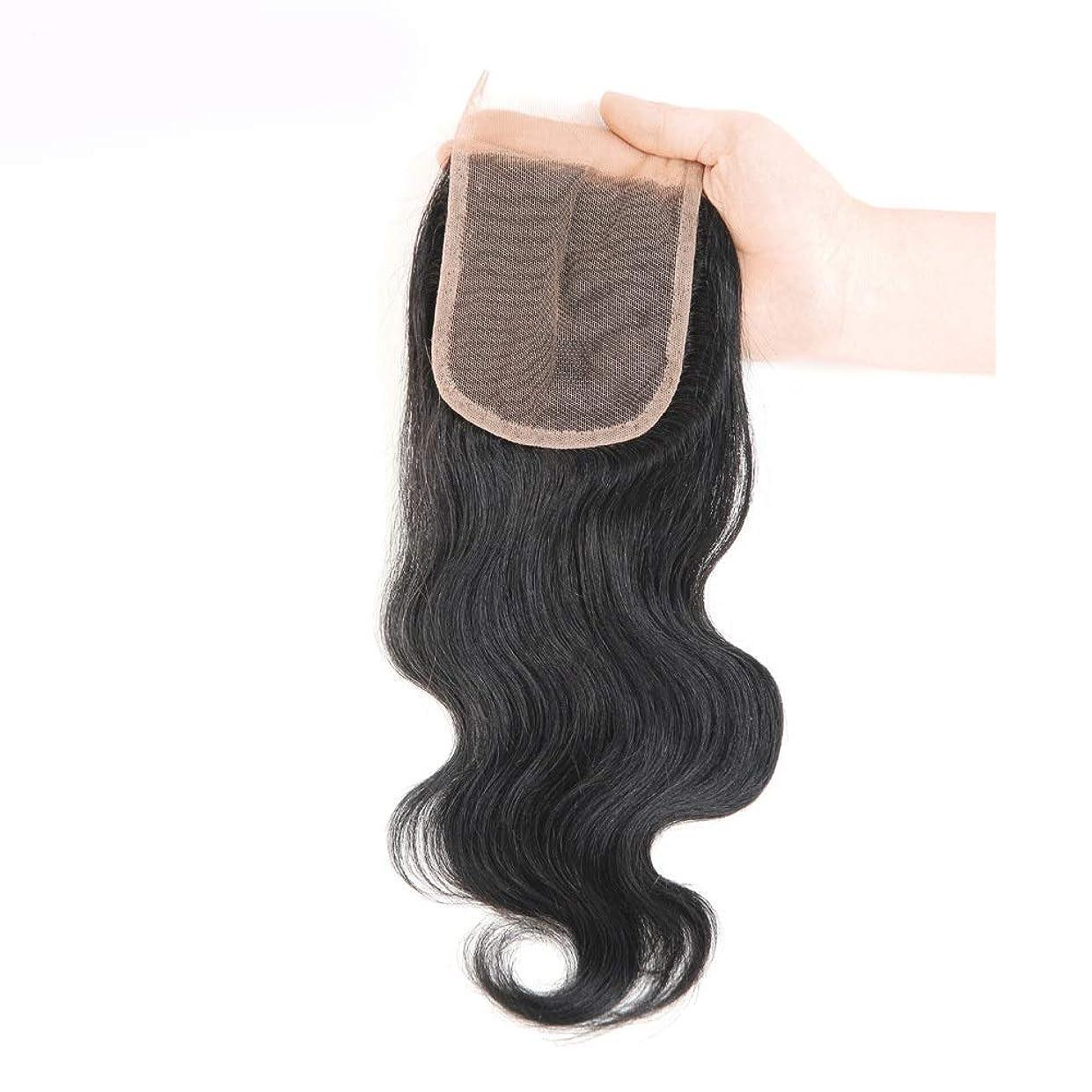 おもてなし周辺動WASAIO 自然の人間の毛髪のブラジルの実体波の閉鎖 (色 : 黒, サイズ : 18 inch)