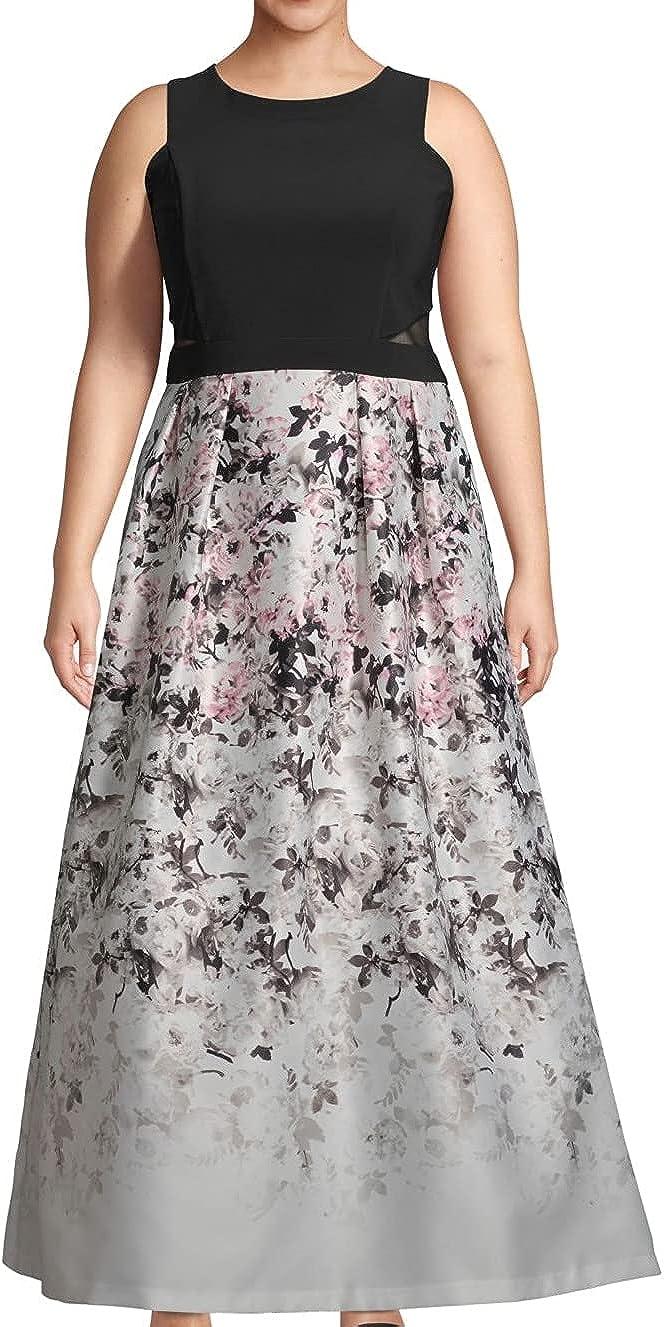 Xscape Women's Floral Print Evening Gown Black Multi Plus Size 16W