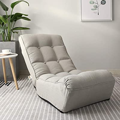 Indoor Chaise Lounge Chair, 3 Angles Adjustable Floor Chair, Folding Lazy Sofa Couch for Teens and Adults, Cushion Padded Comfy Chair