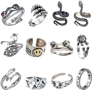 12Pcs Vintage Animal Open Frog Rings Set Knuckle Stacking Ring Lucky Face Snake Ring Goth Boho Cat Finger Rings for Women ...