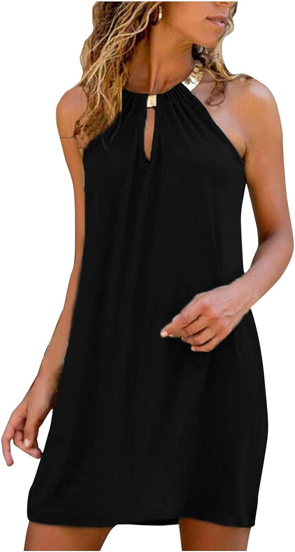 AODONG Casual Dresses for Women, Womens Fashion Striped Sleeveless Summer Beach Loose Short Dress Mini Sundress