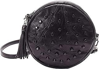 Heidi Bag Leather Round Handbag Circle Crossbody Bag Messenger Bag with Tassel