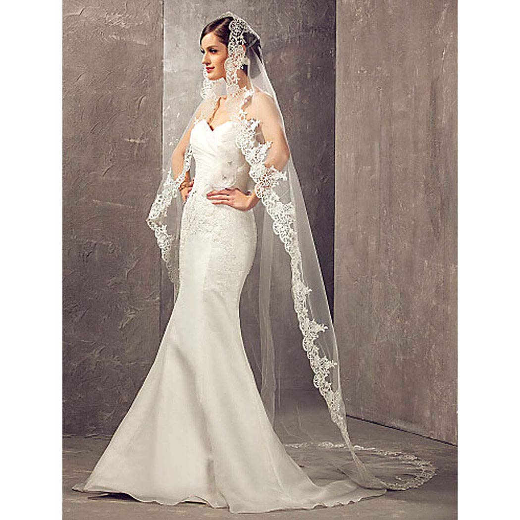Aukmla Wedding Bridal Veils Ivory Beautiful Long Veil with Lace and Metal  Comb at the Edge Cathedral Length lace A