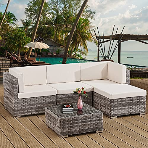 Rattan Garden Furniture Sets 4 Seater Patio Sofas with Coffee Table, Cushions, All-weather Outdoor Corner Sofa Patio Conversation Sets,Outdoor Furniture Sets Clearance(UK Delivery)