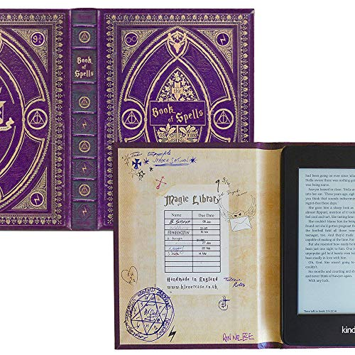 Kindle Paperwhite Case with Harry Potter Themed Foldback Book Cover (New Purple Spells)