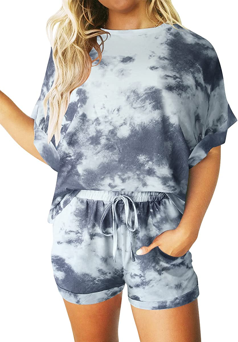 Prinbara Women's Two Piece Popular product Outfit Tie Lounge Dye Ranking TOP16 Print Shor Sets