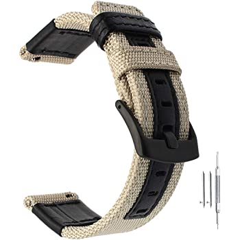 Premium Nylon NATO Canvas Fabric Replacement Watch Bands Canvas Watch Band Military Army Men Women Black