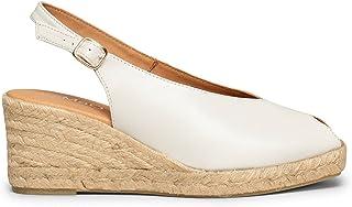 Zapatos miMaO. Sandalias de Mujer Hechas en España. Cuñas de Esparto Peep-Toe Plantilla Ultra Confort Gel