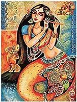 NC88 DIY 5Dダイヤモンドペインティングキットフルドリルマーメイドガール刺繍女性カラフルなモザイク画抽象的なパズル画像ウォールステッカー家の装飾12x16インチ(フレームレス)