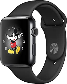 Apple Watch Series 3, 42MM, GPS + Cellular, Space Black Stainless Steel Case, Black Sport Band (Renewed)