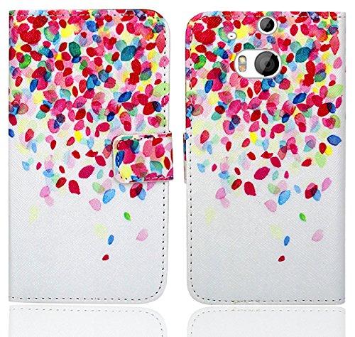 HTC One M8 / M8s Handy Tasche, FoneExpert® Wallet Case Flip Cover Hüllen Etui Ledertasche Lederhülle Premium Schutzhülle für HTC One M8 / M8s (Pattern 1)