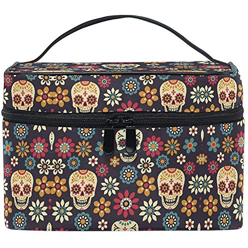 Trousse de Maquillage Vintage Skull Flower Travel Cosmetic Bags Organizer Train Case Toiletry Make Up Pouch-1ED-OF