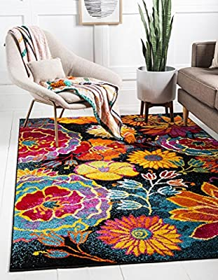 Unique Loom Lyon Collection Modern Floral Area Rug, 9' x 12', Black/Yellow
