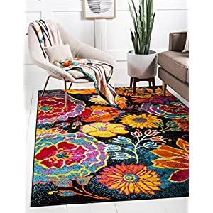 Unique Loom Lyon Collection Modern Floral Area Rug, 4′ x 6′, Black/Yellow