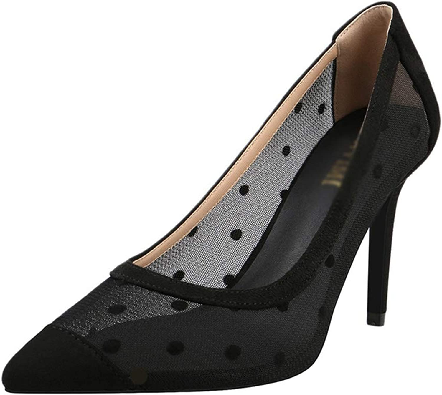 Drew Toby Women Pumps Mesh Pointed-Toe Shallow Black Sexy Fashion High Heels