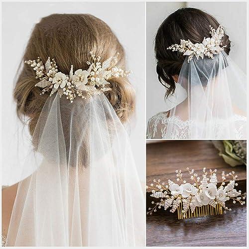 AA-SS- Wohommes Headpiece Diadème de mariée Nouveau Mariage européen et américain de Fleurs perlées à la Main Peigne à Cheveux Peigne Accessoires de fée Super fée