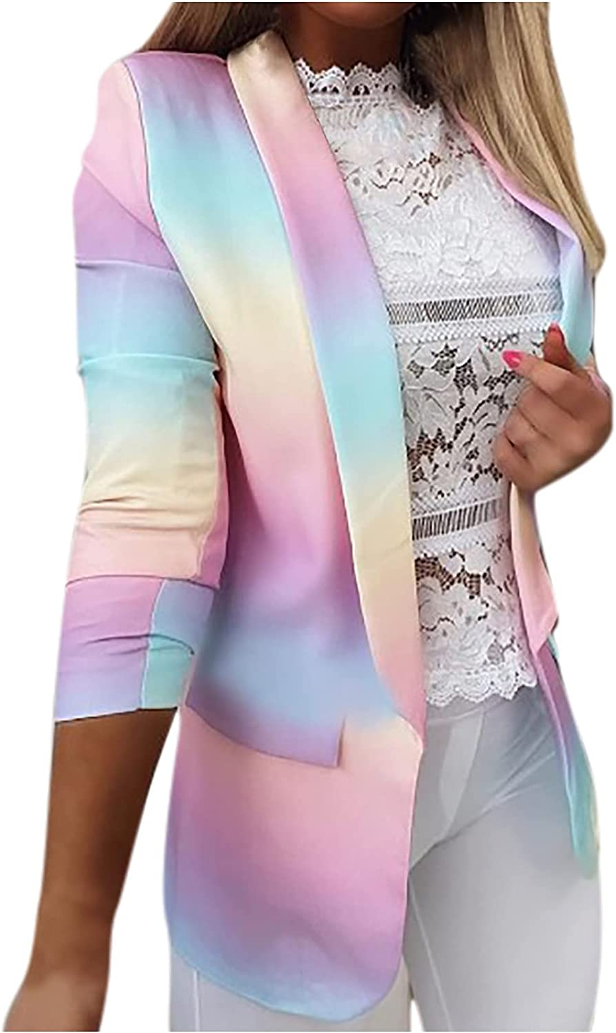 Womens Business Jackets Gradient Print Open Max 80% OFF Shirt Cardigan Max 70% OFF Front
