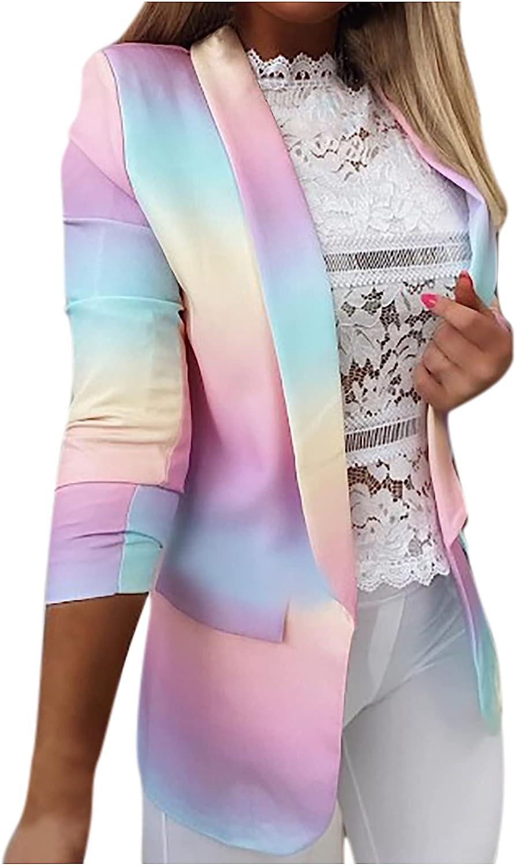 Blazer Jacket for Women Tie Dye Print Business Suit Casual Open Front Work Office Cardigans Coats Long Sleeve Coat