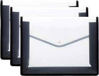 3 Black Clear Project File Folders, Plastic Waterproof File Envelopes Document Folders,14.3x11 inch Project File Folders w...