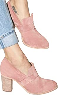 Faionny Women Round Toe High Heels Suede Leather Boots Slip-On Single Shoes Solid Ankle Boots Sneakers (Pink, US:9.5)