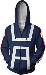Unisex 3D Printed My Hero Academia Zip up Hooded Sweatshirts Autumn Winter Hoodies