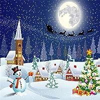 aofoto 10x 10ftクリスマスバックドロップツリー雪だるまスノーフレーククリスマス煙突Hut写真背景トナカイPull Santa 's Sleigh Dreamy Moon Night Photo Shoot Studio Propsビデオドロップビニール壁紙