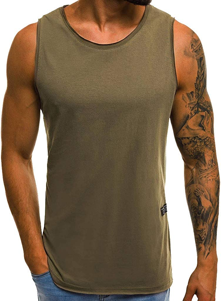 Tank Tops for Men, F_Gotal Men's Fashion Summer Sleeveless Solid Color Casual Outdoor Sports Vest Racerback Blouse Tops