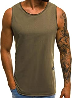 Men Solid Sleeveless Tank, Workout Gym Tank Top Fitness Bodybuilding Stringer Muscle Cut Sleeveless T Shirt