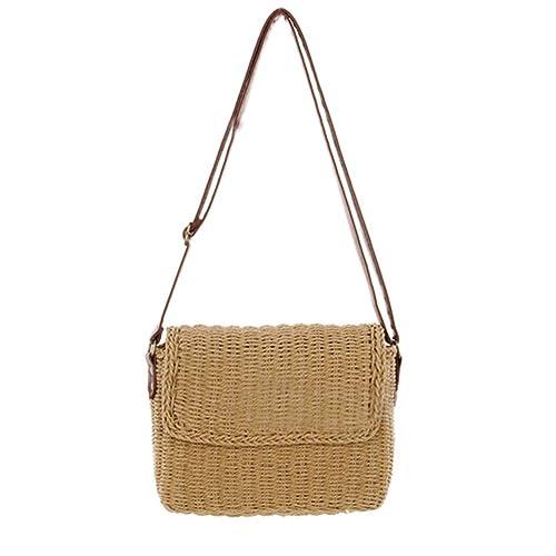 HOSPORT Women Straw Shoulder Bag Flap Crossbody Handbag Summer Casual Bag